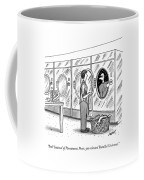 A Woman Doing Laundry With A Spaceman Coming Coffee Mug
