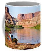 A Woman Enjoys Morning Coffee At A Camp Coffee Mug