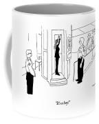 A Woman Hold Her Arms Up To Get An X-ray In An Coffee Mug