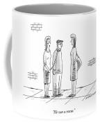 A Woman Holds A Man On A Leash While Talking Coffee Mug