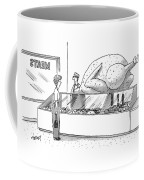 A Woman In A Butcher Shop Stares At A Gigantic Coffee Mug
