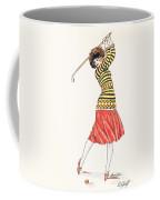 A Woman In Full Swing Playing Golf Coffee Mug