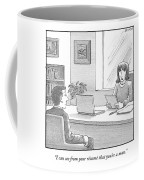 A Woman Interviewing A Man Reads His Resume Coffee Mug