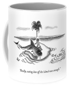 A Woman Is Seen On A Deserted Island With A Shark Coffee Mug
