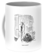 A Woman Is Seen Standing In A Bedroom Next Coffee Mug