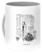 A Woman Is Seen Standing In A Bedroom Next Coffee Mug by Pat Byrnes
