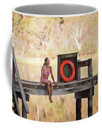 A Woman Is Sitting By A Lake, Mount Coffee Mug