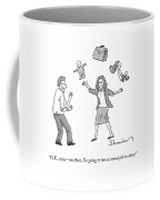 A Woman Juggles Two Children And A Briefcase Coffee Mug