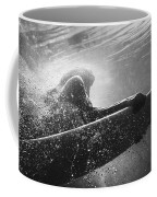A Woman On A Surfboard Under The Water Coffee Mug