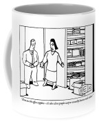 A Woman Opens The Door To A Supply Closet Coffee Mug