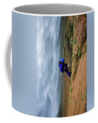 A Woman Rappelling Down Next To Deer Coffee Mug