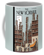 A Woman Reclines In A Room Full Of Books Coffee Mug