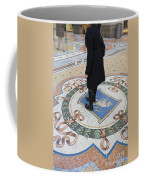 A Woman Rubs Her Heel For Good Luck On The Crest Of The Bull In Galleria Vittorio Emanuele II  Coffee Mug
