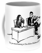 A Woman Sitting At A Desk And Speaking Coffee Mug