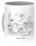 A Woman Speaking To Her Husband As They Read Coffee Mug