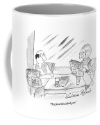 A Woman Speaking To Her Husband As They Read Coffee Mug by Victoria Roberts