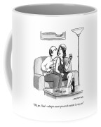 A Woman Speaks To A Man Who Is Whispering Coffee Mug