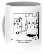 A Woman Speaks To Her Husband In A Kitchen Coffee Mug