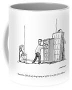 A Woman Speaks To Her Husband Who Is Barricading Coffee Mug