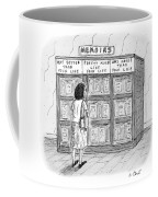 A Woman Stands In Front Of A Bookshelf Of Memoirs Coffee Mug by Roz Chast