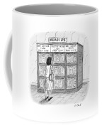 A Woman Stands In Front Of A Bookshelf Of Memoirs Coffee Mug