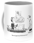 A Woman Stands In The Kitchen Helplessly Coffee Mug