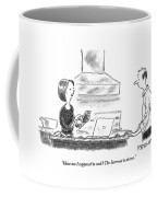 A Woman Stands In The Kitchen Helplessly Coffee Mug by Pat Byrnes