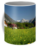 A Woman Walks Through An Alpine Meadow Coffee Mug