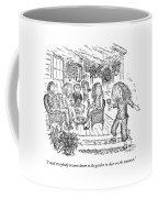 A Woman With A Glass Of Wine Is Standing Coffee Mug