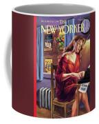 A Woman Works On The Typewriter Coffee Mug