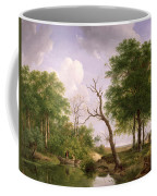 A Wooded River Landscape With Sportsmen In A Rowing Boat Coffee Mug