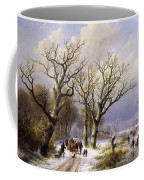 A Wooded Winter Landscape With Figures Coffee Mug