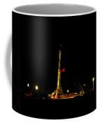 A Workover Rig At Night Coffee Mug