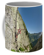 A Youg Woman Poses On A Ladder Bolted Coffee Mug