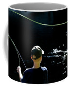 A Young Boy Fly Fishes At Gunpowder Coffee Mug