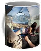 A Young Couple Camping Talk Coffee Mug