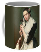 A Young Lady With Two Dogs Coffee Mug