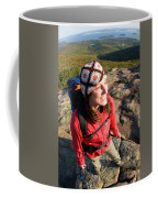 A Young Woman Hiking On Cadillac Coffee Mug