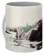 A Young Woman In A White Dress Relaxes Coffee Mug
