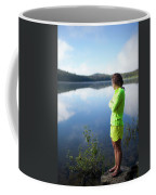 A Young Woman Looks Out Over Unna Lake Coffee Mug