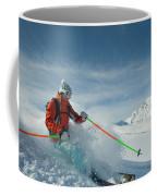 A Young Woman Skis The Backcountry Coffee Mug