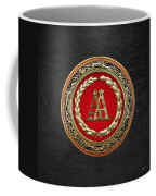 Aa Initials - Gold Antique Monogram On Black Leather Coffee Mug
