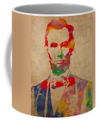 Abraham Lincoln Watercolor Portrait On Worn Distressed Canvas Coffee Mug by Design Turnpike