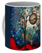 Abstract Art Contemporary Cat Bird Circle Of Life Collection Cat Perch By Madart Coffee Mug