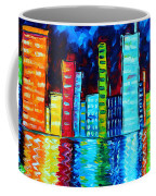 Abstract Art Landscape City Cityscape Textured Painting City Nights II By Madart Coffee Mug by Megan Duncanson