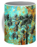 Abstract Art Landscape Metallic Gold Textured Painting Spring Blooms II By Madart Coffee Mug