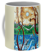 Abstract Art Original Alaskan Wilderness Landscape Painting Land Of The Free By Madart Coffee Mug by Megan Duncanson