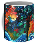 Abstract Art Original Landscape Colorful Painting First Snow Fall By Madart Coffee Mug