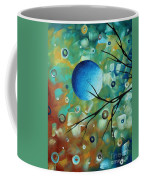 Abstract Art Original Landscape Painting Colorful Circles Morning Blues I By Madart Coffee Mug
