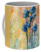Abstract Art Original Landscape Painting Contemporary Design Blue Trees II By Madart Coffee Mug